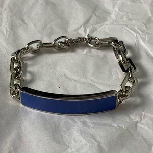Lia Sophia Bar Bracelet Blue Enamel Silver Tone